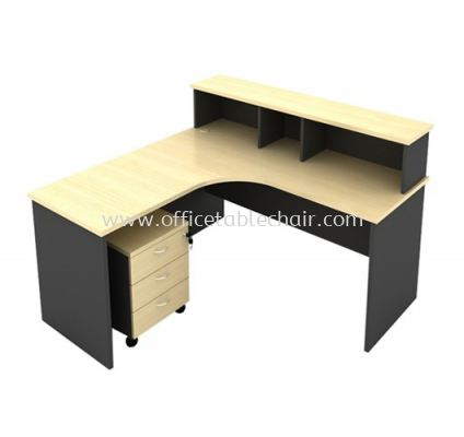 5FT WOODEN BASE RECEPTION COUNTER TABLE WITH MOBILE PEDESTAL 3D