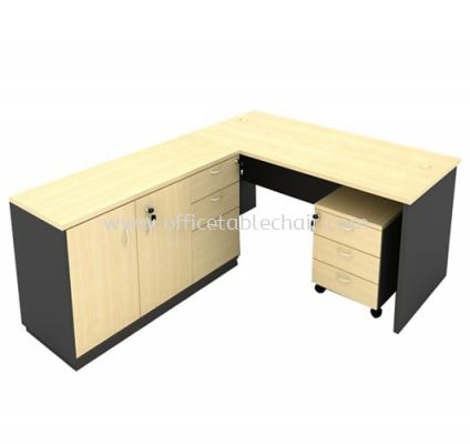 6FT WOODEN BASE EXECUTIVE TABLE WITH SWINGING DOOR + FIXED PEDESTAL 2D1F & MOBILE PEDESTAL 3D