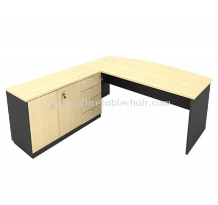 6FT WOODEN BASE EXECUTIVE CURVE TABLE WITH SWINGING DOOR + FIXED PEDESTAL 4D