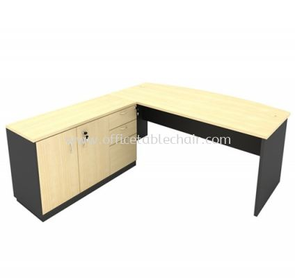 6FT WOODEN BASE EXECUTIVE CURVE TABLE WITH SLIDING DOOR + FIXED PEDESTAL 2D1F