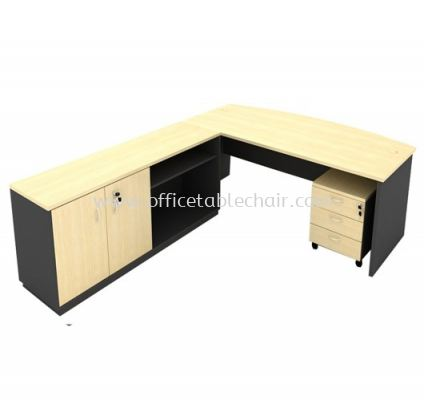 6FT WOODEN BASE EXECUTIVE CURVE OFFICE TABLE WITH SWINGING DOOR + OPEN SHELF LOW CABINET & MOBILE PEDESTAL 3D