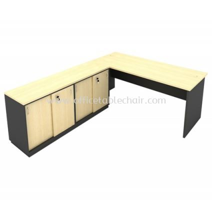 6FT WOODEN BASE EXECUTIVE TABLE WITH TWINS SLIDING DOOR LOW CABINET