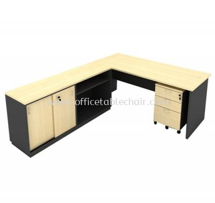 6FT WOODEN BASE EXECUTIVE TABLE WITH SLIDING DOOR + OPEN SHELF LOW CABINET + MOBILE PEDESTAL 2D1F