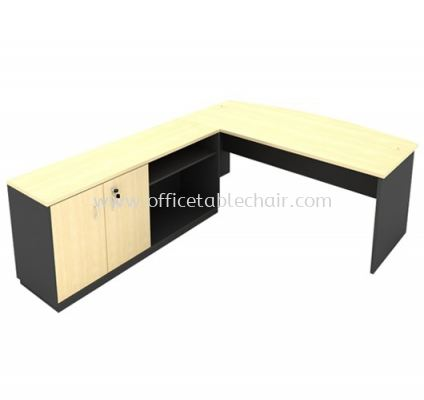 6FT WOODEN BASE EXECUTIVE CURVE OFFICE TABLE WITH SWINGING DOOR + OPEN SHELF LOW CABINET