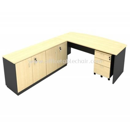 6FT WOODEN BASE EXECUTIVE CURVE OFFICE TABLE WITH TWINS SWINGING DOOR LOW CABINET & MOBILE PEDESTAL 2D1F