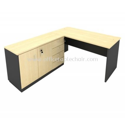 6FT WOODEN BASE EXECUTIVE TABLE WITH SWINGING DOOR + FIXED PEDESTAL 4D