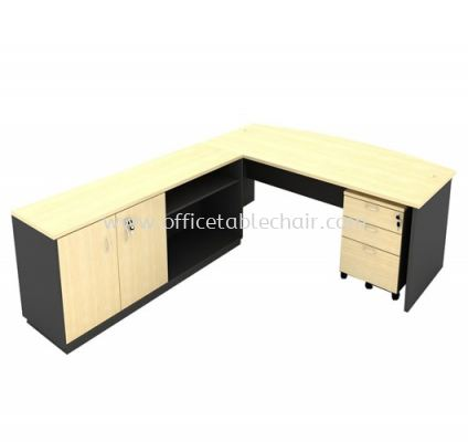 6FT WOODEN BASE EXECUTIVE CURVE OFFICE TABLE WITH SWINGING DOOR + OPEN SHELF LOW CABINET & MOBILE PEDESTAL 2D1F
