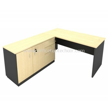 6FT WOODEN BASE EXECUTIVE TABLE WITH SWINGING DOOR + FIXED PEDESTAL 2D1F