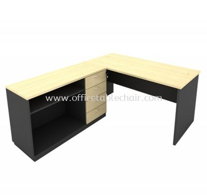 6FT WOODEN BASE EXECUTIVE TABLE WITH OPEN SHELF + FIXED PEDESTAL 4D LOW CABINET