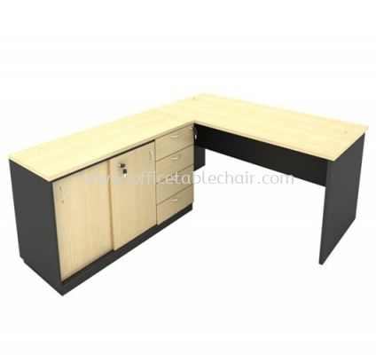 6FT WOODEN BASE EXECUTIVE TABLE WITH OPEN SHELF + FIXED PEDESTAL 4D