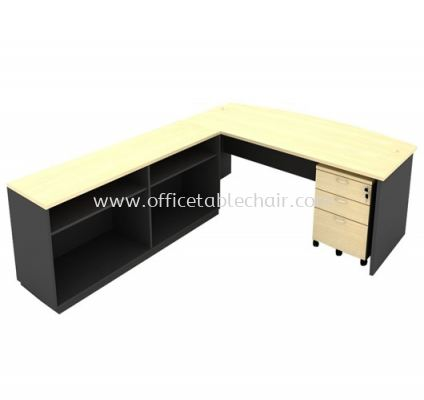 6FT WOODEN BASE EXECUTIVE CURVE OFFICE TABLE WITH TWINS OPEN SHELF LOW CABINET + MOBILE PEDESTAL 2D1F