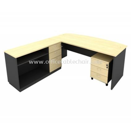 6FT WOODEN BASE EXECUTIVE CURVE TABLE WITH OPEN SHELF + FIXED PEDESTAL 2D1F + MOBILE PEDESTAL 3D