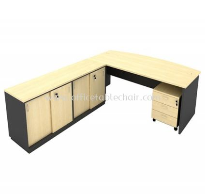 6FT WOODEN BASE EXECUTIVE CURVE OFFICETABLE WITH TWINS SLIDING DOOR LOW CABINET + MOBILE PEDESTAL 3D