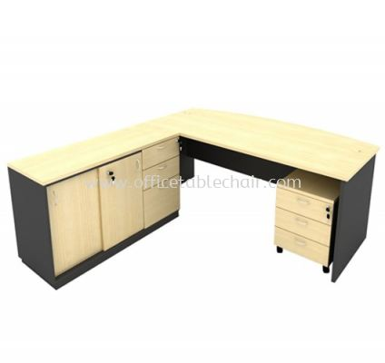 6FT WOODEN BASE EXECUTIVE CURVE TABLE WITH SLIDING DOOR + FIXED PEDESTAL 2D1F LOW CABINET & MOBILE PEDESTAL 3D