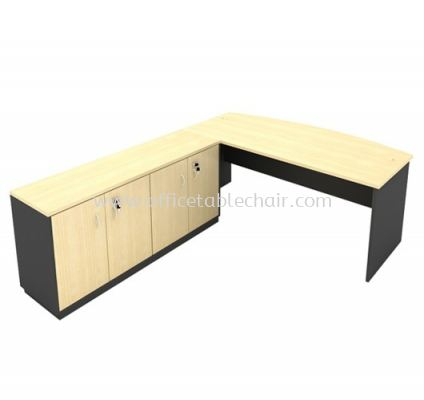 6FT WOODEN BASE EXECUTIVE CURVE OFFICE TABLE WITH TWINS SWINGING DOOR LOW CABINET