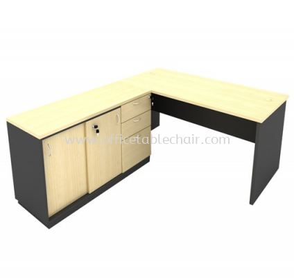 6FT WOODEN BASE EXECUTIVE TABLE WITH SLIDING DOOR + FIXED PEDESTAL 2D1F LOW CABINET