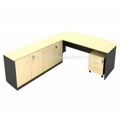 6FT WOODEN BASE EXECUTIVE CURVE OFFICE TABLE WITH TWINS SWINGING DOOR LOW CABINET + MOBILE PEDESTAL 3D