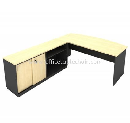 6FT WOODEN BASE EXECUTIVE CURVE OFFICE TABLE WITH SLIDING DOOR + OPEN SHELF LOW CABINET