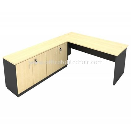 6FT WOODEN BASE EXECUTIVE TABLE WITH TWINS SWINGING DOOR LOW CABINET