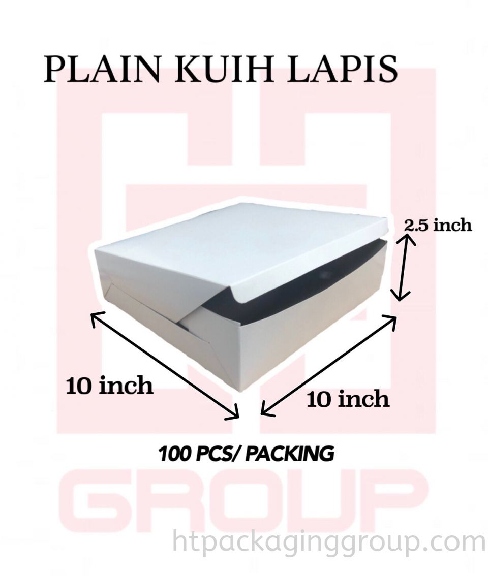 10inch x 10inch x 2.5inch(100PCS/PACKING) PLAIN WHITE KUIH LAPIS BOX (WITHOUT WINDOW) KUIH LAPIS BOX READY MADE