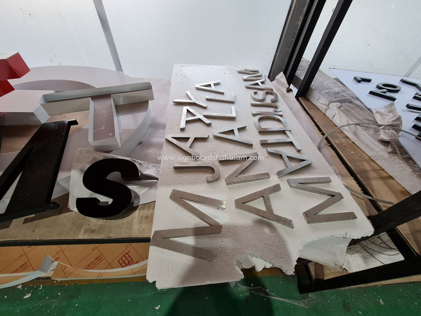 Stainless Steel Silver Hairline Box Up Lettering