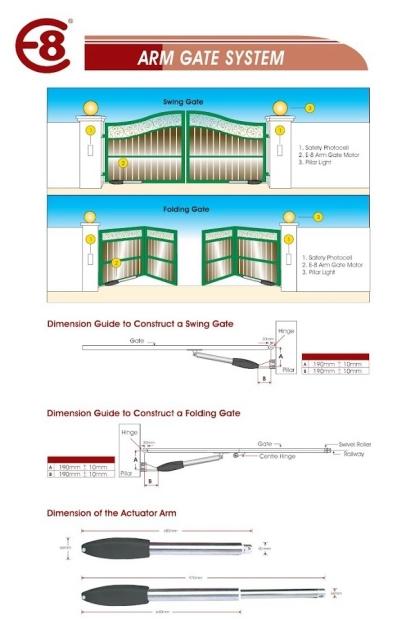 E8 DC Alloy  Swing Gate System - Model E-3300