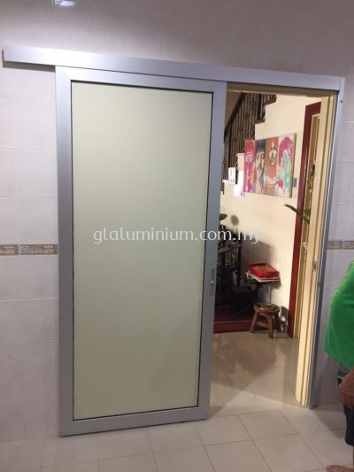 One panel hanging sliding door ( silver + composite panel yellow) @jalan Taming Maju, Sri cheras jaya, Balakong