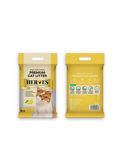 60238 Heroes 8L Cat Litter - Lemon