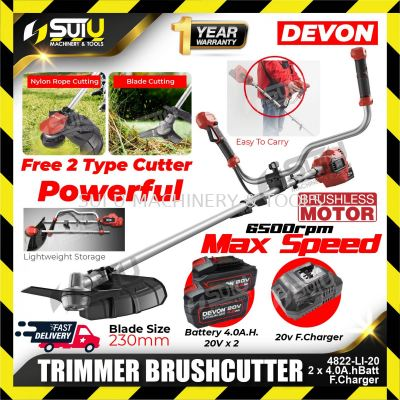 DEVON 4822-LI-20 (2xBatt+1xChar) Electric Brushless Cordless TRIMMER BRUSHCUTTER Lithium with Chargers