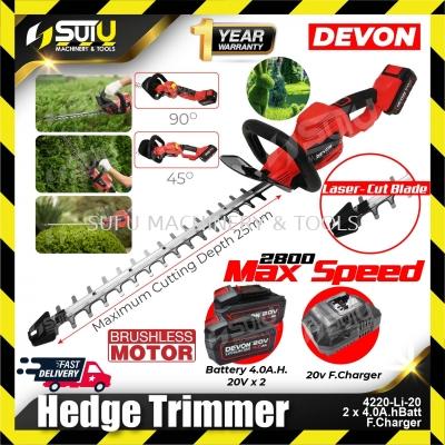 DEVON 4220-Li-20 20V Brushless Cordless Hedge Trimmer w/ 2 x 4.0Ah Batteries + 1 x Charger