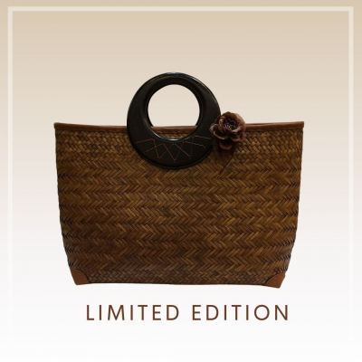 BTK(B)035 Straw Bag Wood Handle Handbag