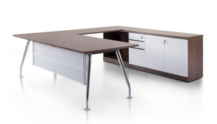 L shape executive table with Ixia chrome leg and credenza cabinet