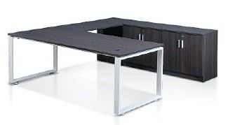 L shape cassia leg table with credenza return and without modesty panel