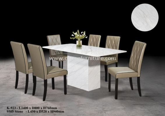 1.4M 1+6 MARBLE DINING SET