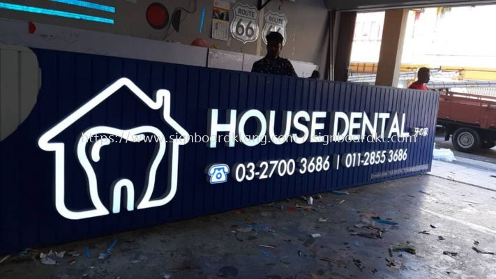 house dental aluminum ceiling trim casing base aluminum 3D box up led frontlit lettring signage signboard klang kuala lumpur