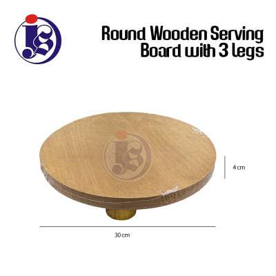 Round Wooden Serving Board With 3 Legs