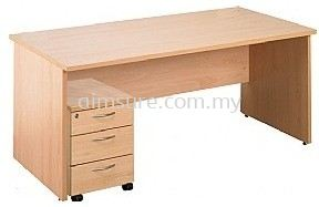 Wooden writing table with mobile pedestal