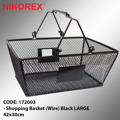 172003 - Shopping Basket (Wire) Black L 42x30cm