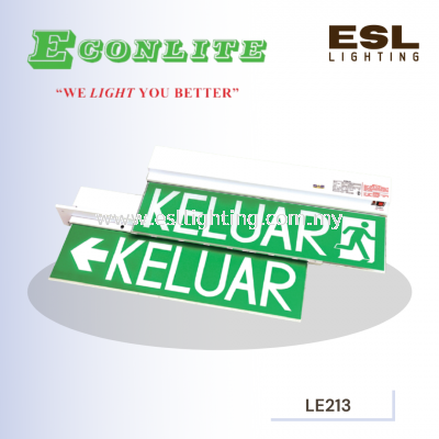 ECONLITE LE-213 & LE-213R SLIMLINE DESIGN FOR ELEGANT LOOK SELF-CONTAINED EMERGENCY KELUAR SIGN