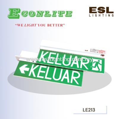 ECONLITE LE-213 & LE-213R SLIMLINE DESIGN FOR ELEGANT LOOK SELF-CONTAINED EMERGENCY KELUAR SIGN