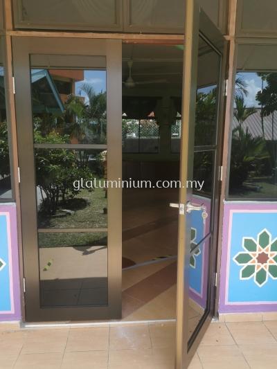 Double leaf swing door ( MB + tinter glass dark) @SMK Sungai Besi, sungai besi, Kuala Lumpur