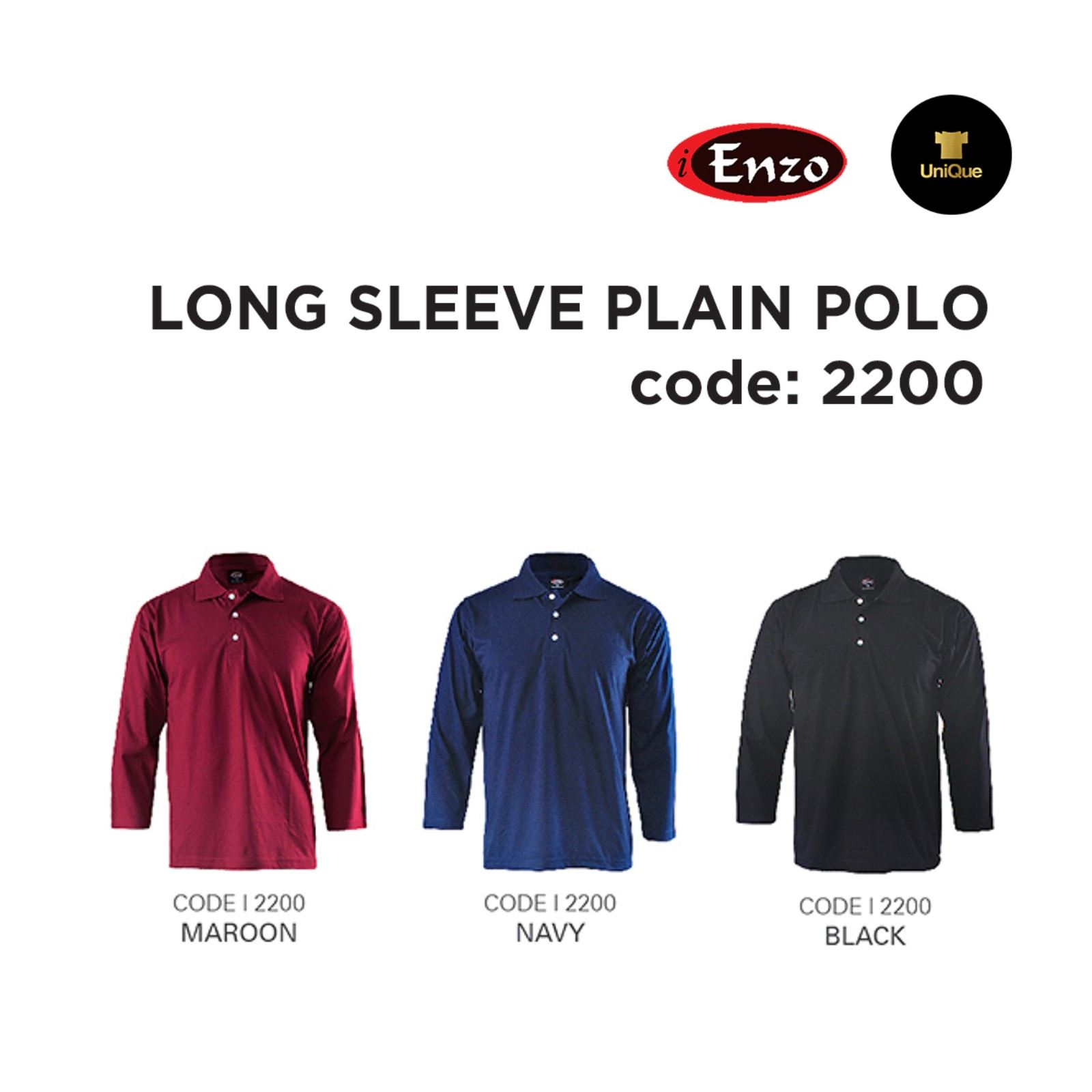 T-shirt long sleeve collar (Adult) | Long Sleeve Collar Plain T-shirt | 2200