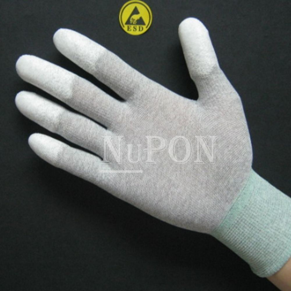 Carbon Knitted Fingertips PU Coated Gloves