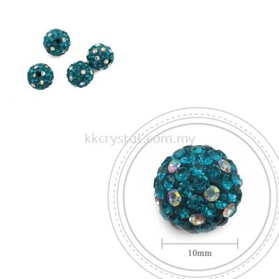 Bling Ball, 10mm, C019, Blue Zircon + Rainbow DOT, 4pcs:pack