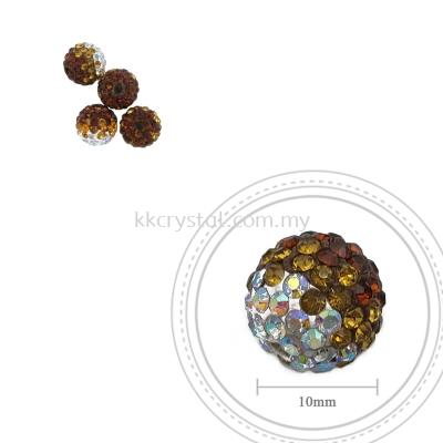 Bling Ball, 10mm, B031, Dark Brown + Topaz + Rainbow White, 4pcs:pack
