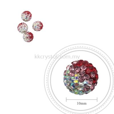 Bling Ball, 10mm, B009, Light Siam + Light Rose + Rainbow White, 4pcs:pack