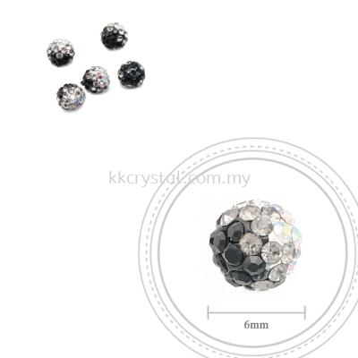 Bling Ball, 6mm, B032 Black + Black Diamond + Rainbow White, 5pcs:pack