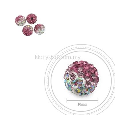 Bling Ball, 10mm, B004, Rose + Light Rose + Rainbow White, 4pcs:pack