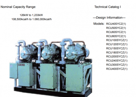 Hitachi Water-Cooled Screw Type Chiller RCU~SYCZ Series