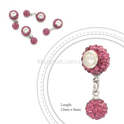 Bling Charm 12mm + 8mm Round Dangle, A005, Rose